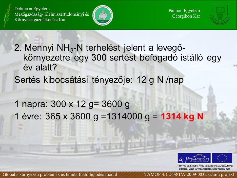 2. Mennyi NH 3 -N terhelést jelent a levegő- környezetre egy 300 sertést befogadó istálló egy év alatt? Sertés kibocsátási tényezője: 12 g N /nap 1 na