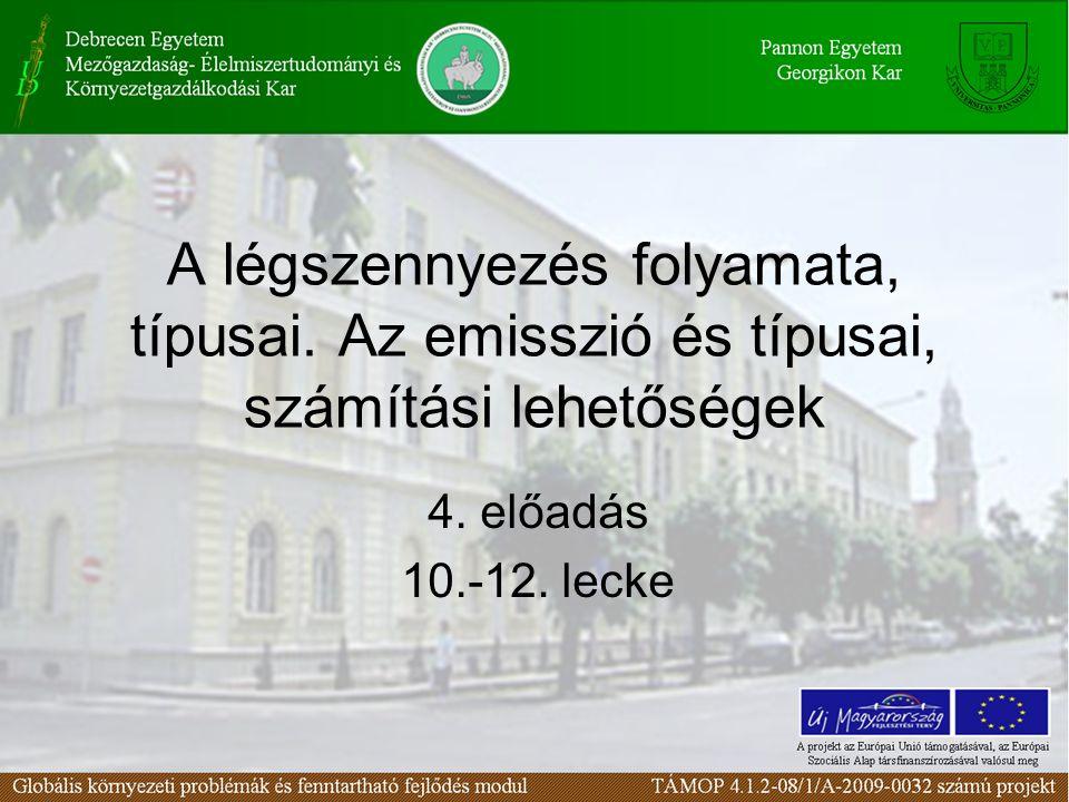 A légszennyezés folyamata, típusai. Az emisszió és típusai, számítási lehetőségek 4. előadás 10.-12. lecke