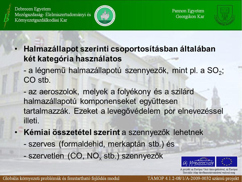 Halmazállapot szerinti csoportosításban általában két kategória használatos - a légnemű halmazállapotú szennyezők, mint pl.