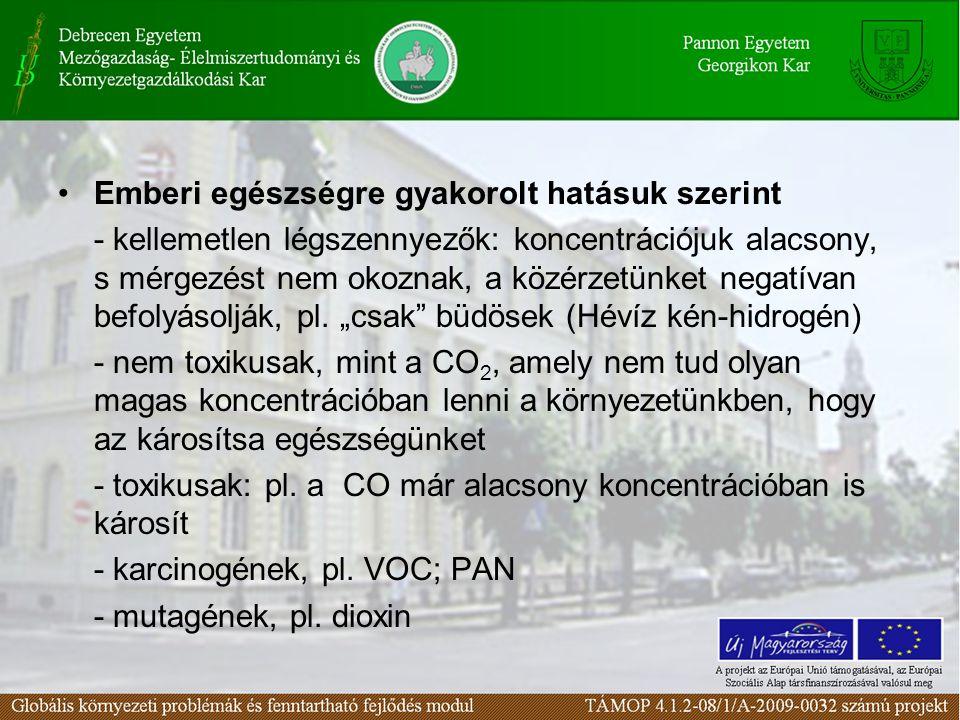 Emberi egészségre gyakorolt hatásuk szerint - kellemetlen légszennyezők: koncentrációjuk alacsony, s mérgezést nem okoznak, a közérzetünket negatívan befolyásolják, pl.