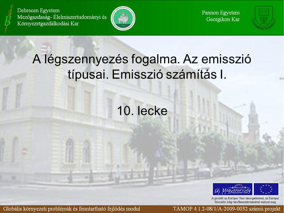 A légszennyezés fogalma. Az emisszió típusai. Emisszió számítás I. 10. lecke