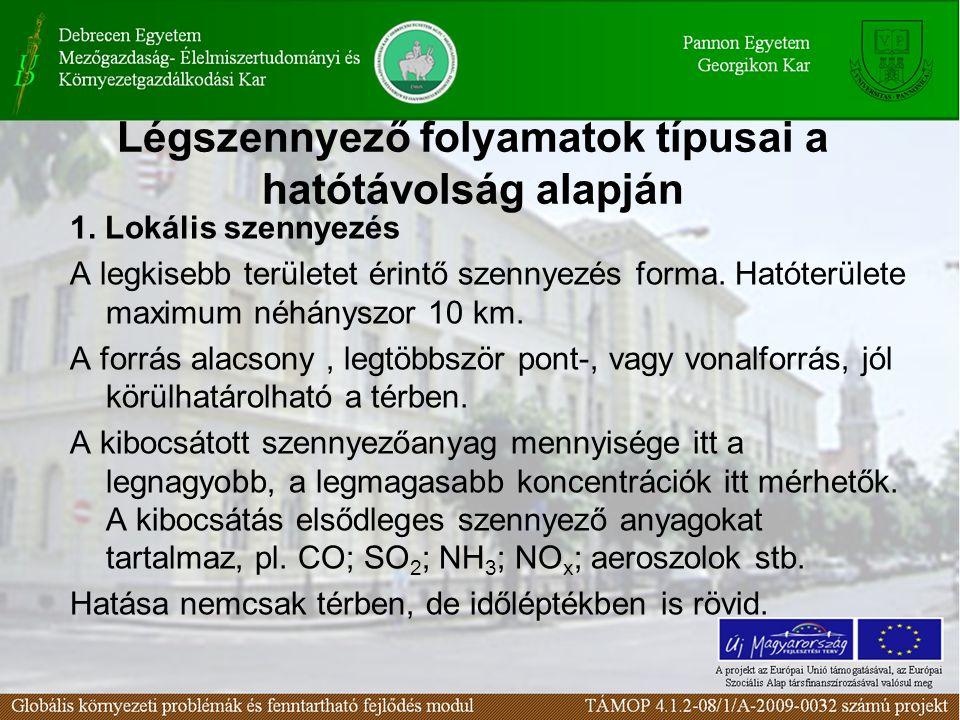 Légszennyező folyamatok típusai a hatótávolság alapján 1. Lokális szennyezés A legkisebb területet érintő szennyezés forma. Hatóterülete maximum néhán