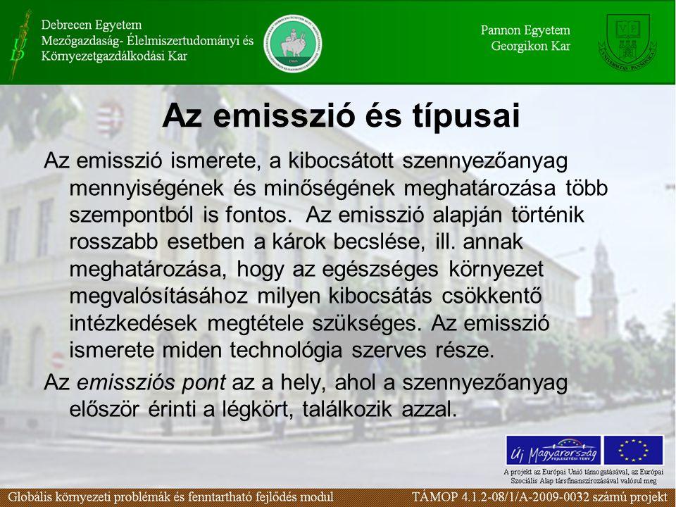 Az emisszió és típusai Az emisszió ismerete, a kibocsátott szennyezőanyag mennyiségének és minőségének meghatározása több szempontból is fontos. Az em