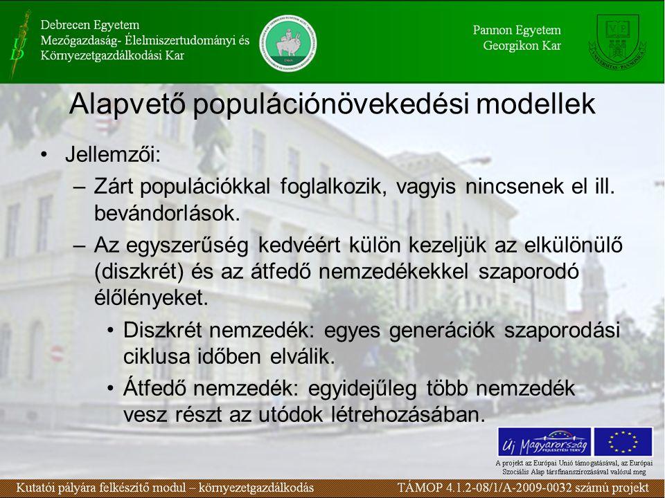 Alapvető populációnövekedési modellek Jellemzői: –Zárt populációkkal foglalkozik, vagyis nincsenek el ill. bevándorlások. –Az egyszerűség kedvéért kül
