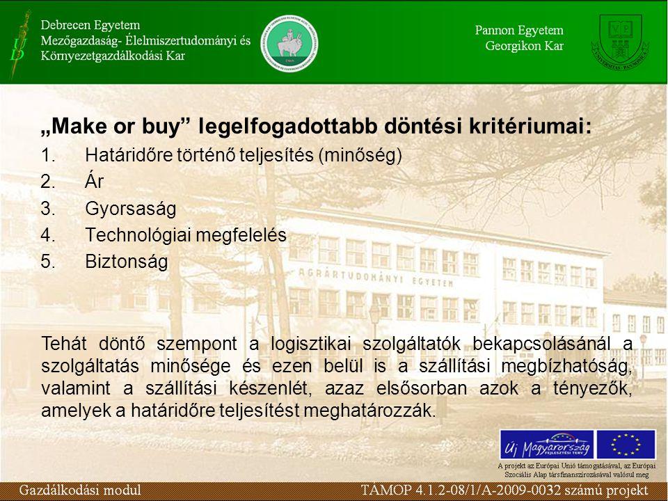 """""""Make or buy legelfogadottabb döntési kritériumai: 1.Határidőre történő teljesítés (minőség) 2.Ár 3.Gyorsaság 4.Technológiai megfelelés 5.Biztonság Tehát döntő szempont a logisztikai szolgáltatók bekapcsolásánál a szolgáltatás minősége és ezen belül is a szállítási megbízhatóság, valamint a szállítási készenlét, azaz elsősorban azok a tényezők, amelyek a határidőre teljesítést meghatározzák."""