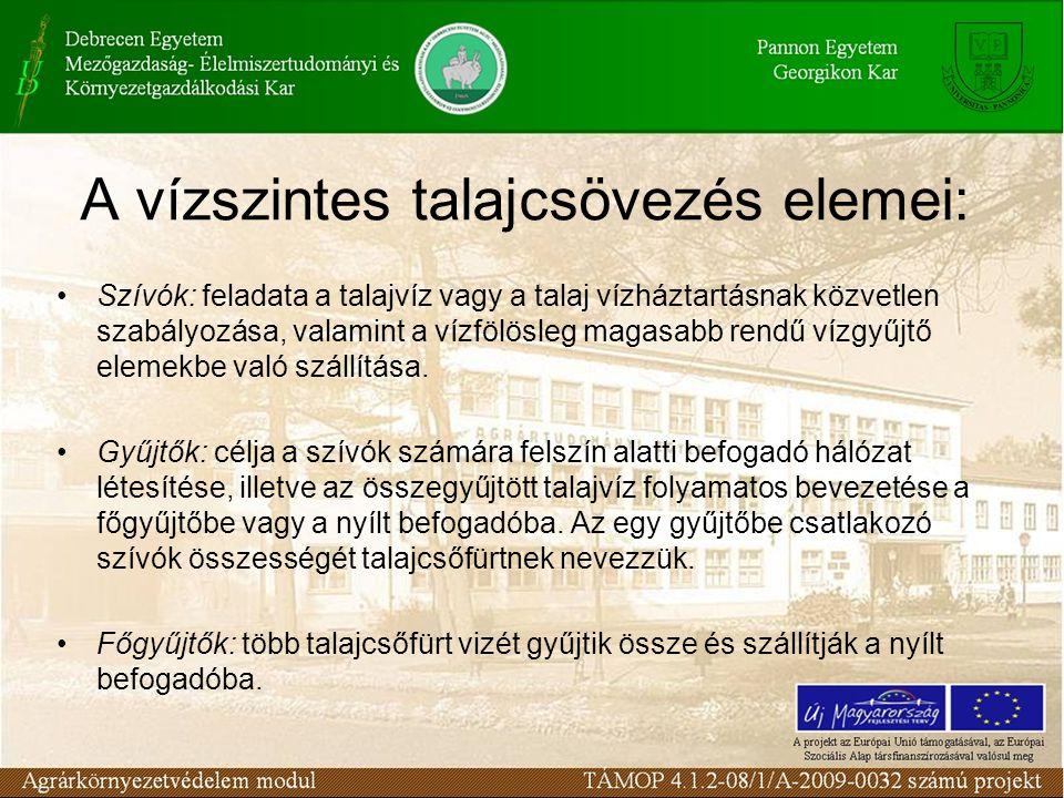 A vízszintes talajcsövezés elemei: Szívók: feladata a talajvíz vagy a talaj vízháztartásnak közvetlen szabályozása, valamint a vízfölösleg magasabb rendű vízgyűjtő elemekbe való szállítása.