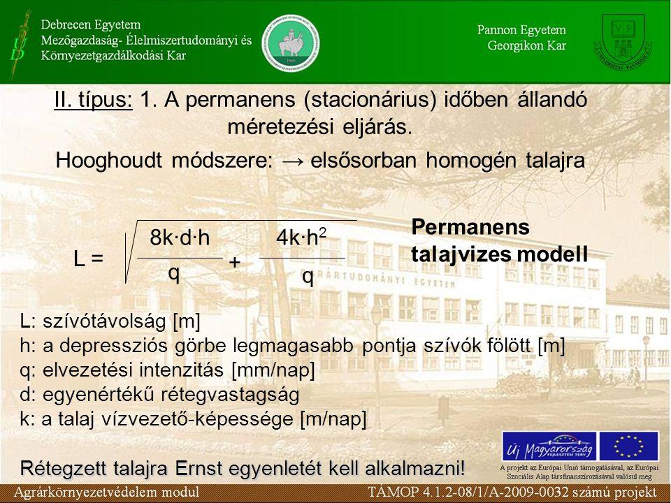 II.típus: 1. A permanens (stacionárius) időben állandó méretezési eljárás.