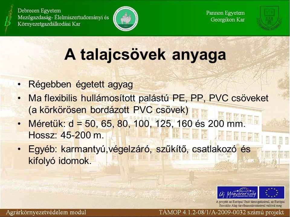 A talajcsövek anyaga Régebben égetett agyag Ma flexibilis hullámosított palástú PE, PP, PVC csöveket (a körkörösen bordázott PVC csövek) Méretük: d = 50, 65, 80, 100, 125, 160 és 200 mm.