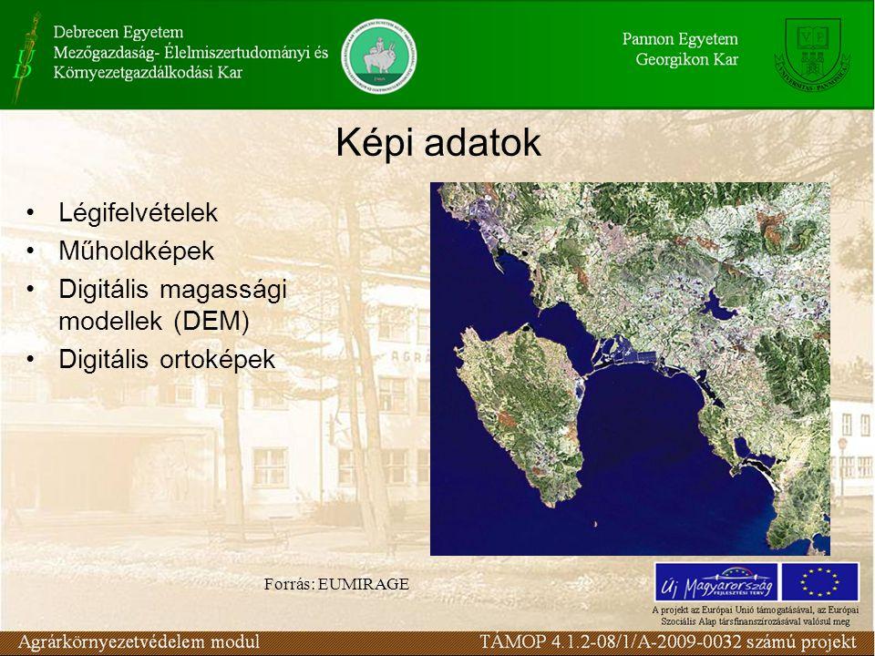 Képi adatok Légifelvételek Műholdképek Digitális magassági modellek (DEM) Digitális ortoképek Forrás: EUMIRAGE
