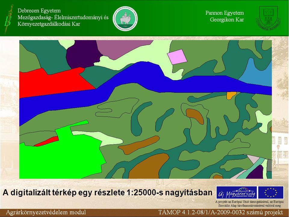 A digitalizált térkép egy részlete 1:25000-s nagyításban