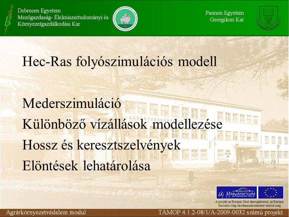 Hec-Ras folyószimulációs modell Mederszimuláció Különböző vízállások modellezése Hossz és keresztszelvények Elöntések lehatárolása