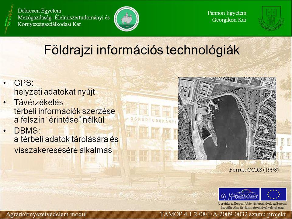 Földrajzi információs technológiák GPS: helyzeti adatokat nyújt Távérzékelés: térbeli információk szerzése a felszín érintése nélkül DBMS: a térbeli adatok tárolására és visszakeresésére alkalmas Forrás: CCRS (1998)
