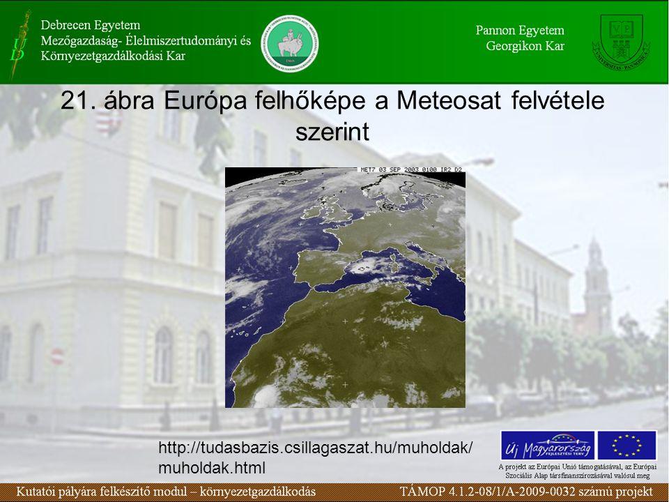 21. ábra Európa felhőképe a Meteosat felvétele szerint http://tudasbazis.csillagaszat.hu/muholdak/ muholdak.html