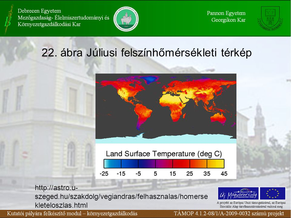 22. ábra Júliusi felszínhőmérsékleti térkép http://astro.u- szeged.hu/szakdolg/vegiandras/felhasznalas/homerse kleteloszlas.html