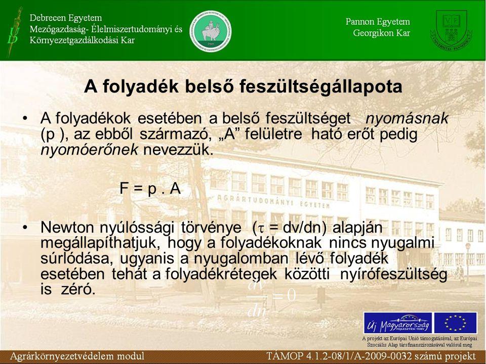 """A folyadék belső feszültségállapota A folyadékok esetében a belső feszültséget nyomásnak (p ), az ebből származó, """"A"""" felületre ható erőt pedig nyomóe"""
