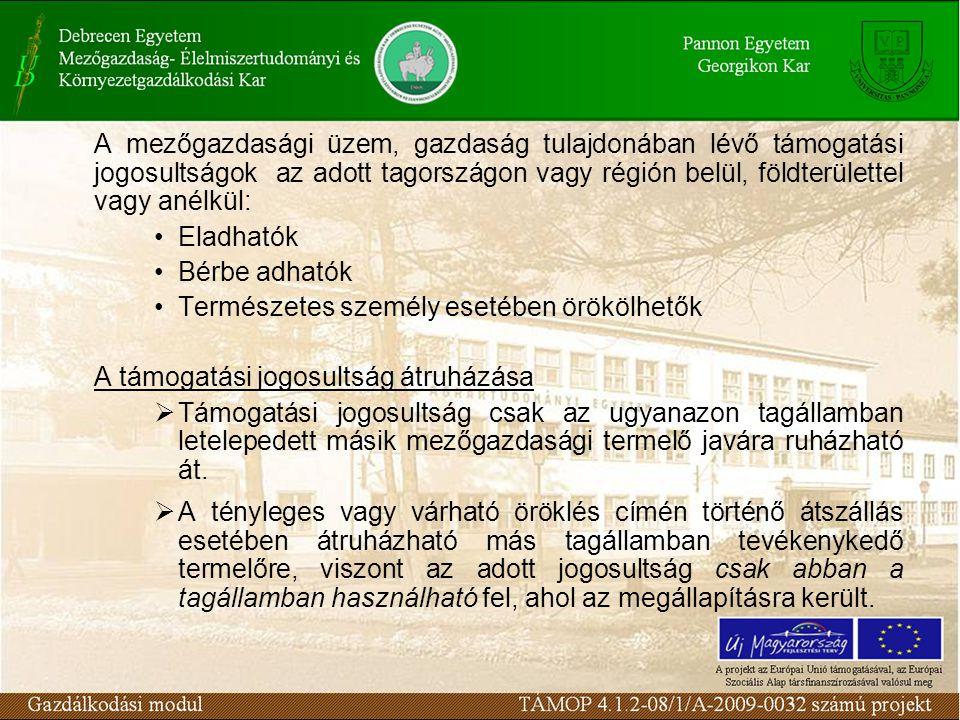 A mezőgazdasági üzem, gazdaság tulajdonában lévő támogatási jogosultságok az adott tagországon vagy régión belül, földterülettel vagy anélkül: Eladhat