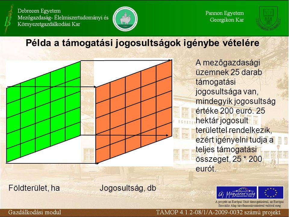Példa a támogatási jogosultságok igénybe vételére A mezőgazdasági üzemnek 25 darab támogatási jogosultsága van, mindegyik jogosultság értéke 200 euró.