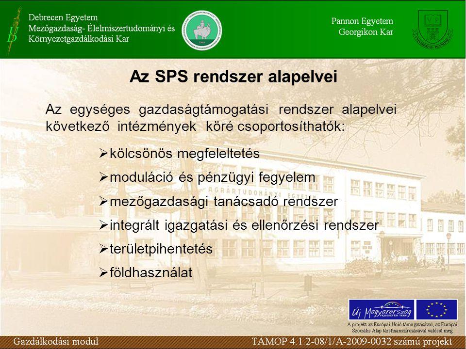 Az SPS rendszer alapelvei Az egységes gazdaságtámogatási rendszer alapelvei következő intézmények köré csoportosíthatók:  kölcsönös megfeleltetés  moduláció és pénzügyi fegyelem  mezőgazdasági tanácsadó rendszer  integrált igazgatási és ellenőrzési rendszer  területpihentetés  földhasználat