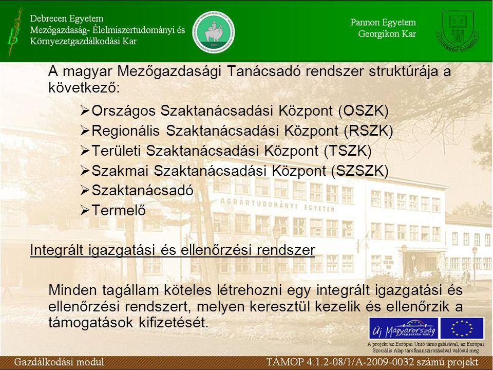 A magyar Mezőgazdasági Tanácsadó rendszer struktúrája a következő:  Országos Szaktanácsadási Központ (OSZK)  Regionális Szaktanácsadási Központ (RSZK)  Területi Szaktanácsadási Központ (TSZK)  Szakmai Szaktanácsadási Központ (SZSZK)  Szaktanácsadó  Termelő Integrált igazgatási és ellenőrzési rendszer Minden tagállam köteles létrehozni egy integrált igazgatási és ellenőrzési rendszert, melyen keresztül kezelik és ellenőrzik a támogatások kifizetését.