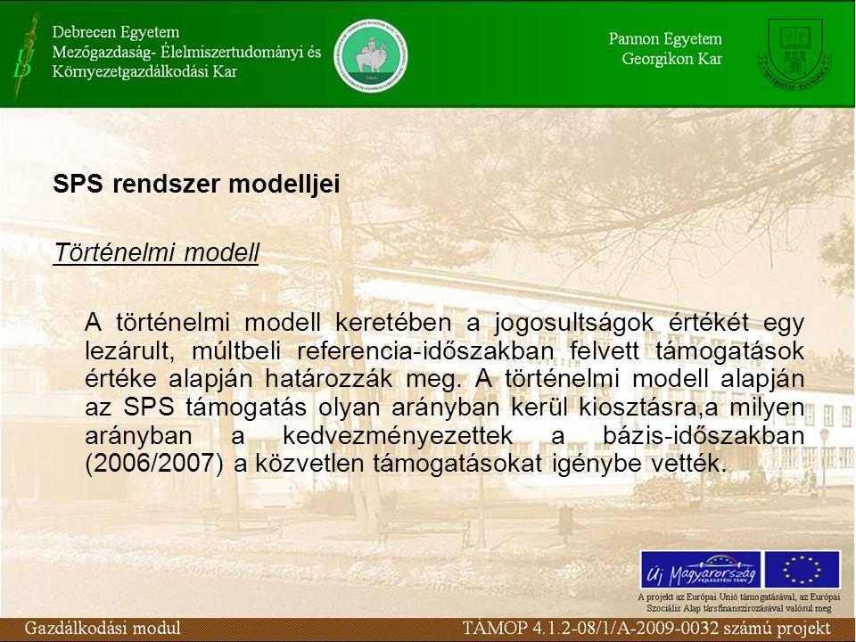 SPS rendszer modelljei Történelmi modell A történelmi modell keretében a jogosultságok értékét egy lezárult, múltbeli referencia-időszakban felvett támogatások értéke alapján határozzák meg.