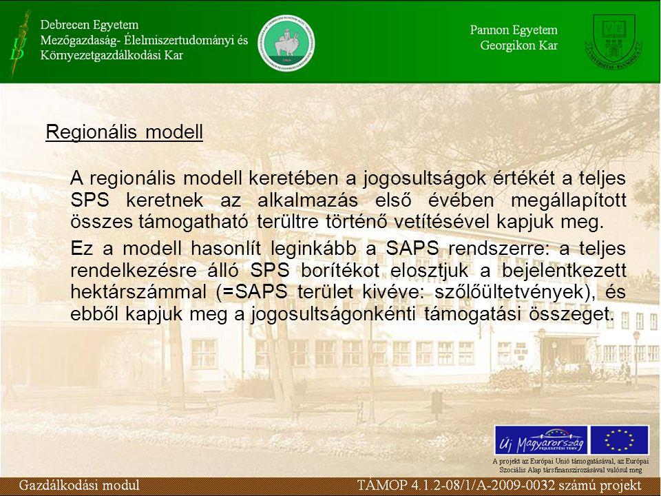 Regionális modell A regionális modell keretében a jogosultságok értékét a teljes SPS keretnek az alkalmazás első évében megállapított összes támogatható terültre történő vetítésével kapjuk meg.