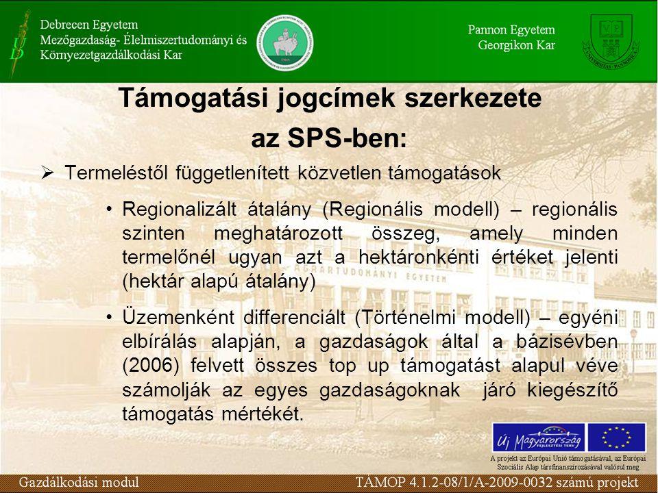 Támogatási jogcímek szerkezete az SPS-ben:  Termeléstől függetlenített közvetlen támogatások Regionalizált átalány (Regionális modell) – regionális szinten meghatározott összeg, amely minden termelőnél ugyan azt a hektáronkénti értéket jelenti (hektár alapú átalány) Üzemenként differenciált (Történelmi modell) – egyéni elbírálás alapján, a gazdaságok által a bázisévben (2006) felvett összes top up támogatást alapul véve számolják az egyes gazdaságoknak járó kiegészítő támogatás mértékét.