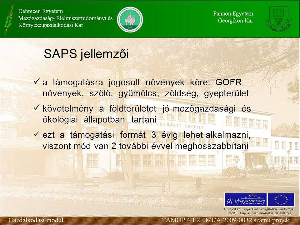 SAPS jellemzői a támogatásra jogosult növények köre: GOFR növények, szőlő, gyümölcs, zöldség, gyepterület követelmény a földterületet jó mezőgazdasági és ökológiai állapotban tartani ezt a támogatási formát 3 évig lehet alkalmazni, viszont mód van 2 további évvel meghosszabbítani