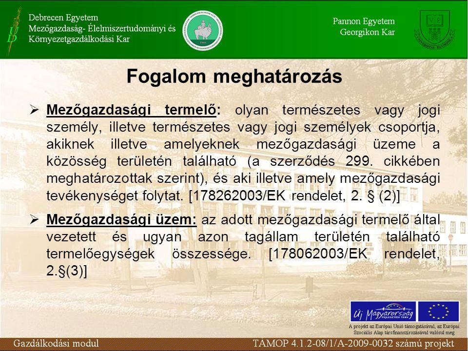 Fogalom meghatározás  Mezőgazdasági termelő: olyan természetes vagy jogi személy, illetve természetes vagy jogi személyek csoportja, akiknek illetve amelyeknek mezőgazdasági üzeme a közösség területén található (a szerződés 299.