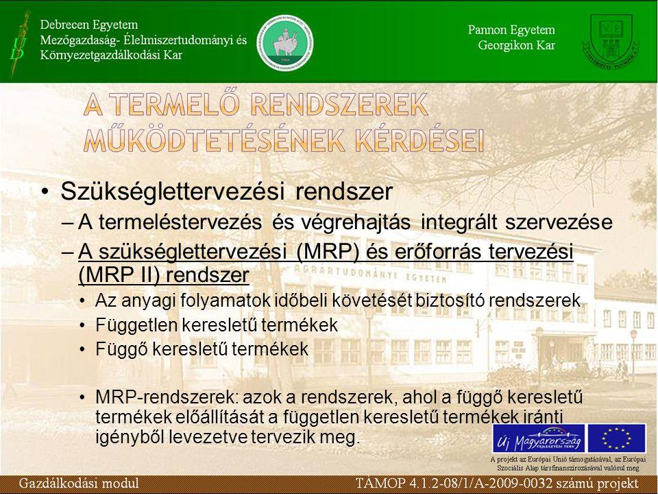 Szükséglettervezési rendszer –A termeléstervezés és végrehajtás integrált szervezése –A szükséglettervezési (MRP) és erőforrás tervezési (MRP II) rendszer Az anyagi folyamatok időbeli követését biztosító rendszerek Független keresletű termékek Függő keresletű termékek MRP-rendszerek: azok a rendszerek, ahol a függő keresletű termékek előállítását a független keresletű termékek iránti igényből levezetve tervezik meg.
