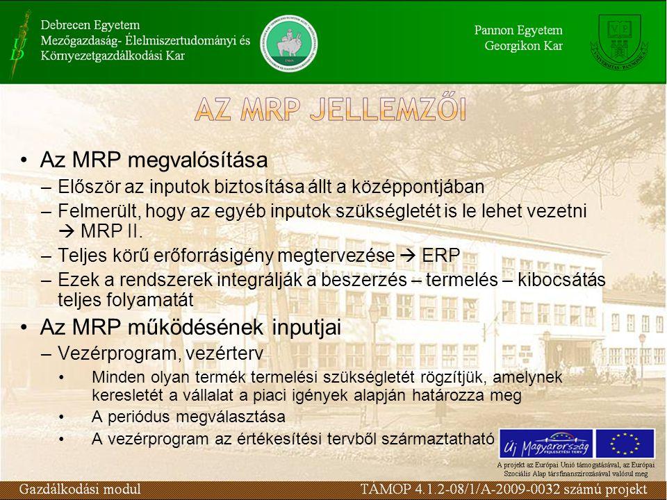 Az MRP megvalósítása –Először az inputok biztosítása állt a középpontjában –Felmerült, hogy az egyéb inputok szükségletét is le lehet vezetni  MRP II.
