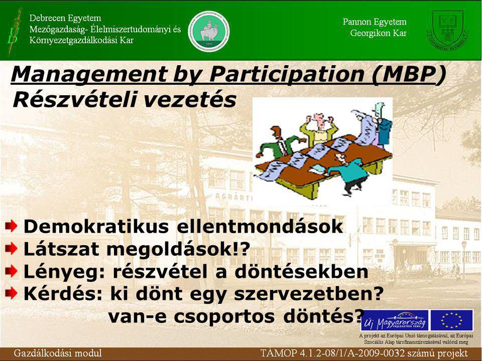 Management by Participation (MBP) Részvételi vezetés Demokratikus ellentmondások Látszat megoldások!? Lényeg: részvétel a döntésekben Kérdés: ki dönt