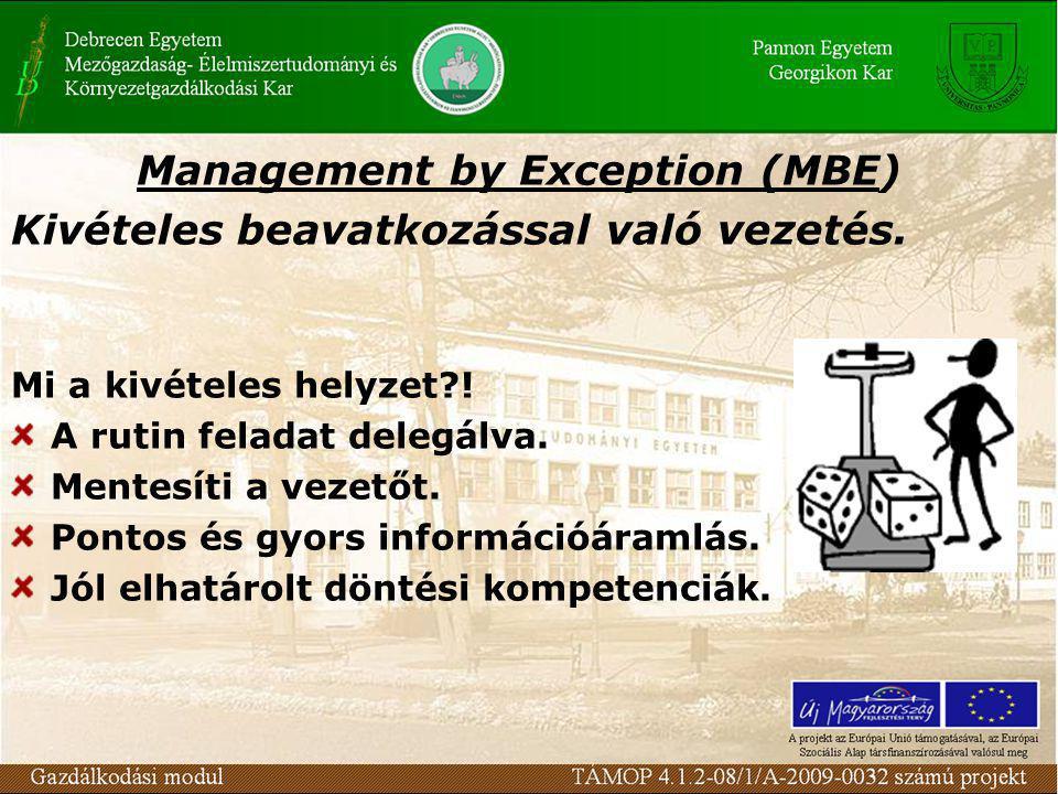 Management by Exception (MBE) Kivételes beavatkozással való vezetés. Mi a kivételes helyzet?! A rutin feladat delegálva. Mentesíti a vezetőt. Pontos é