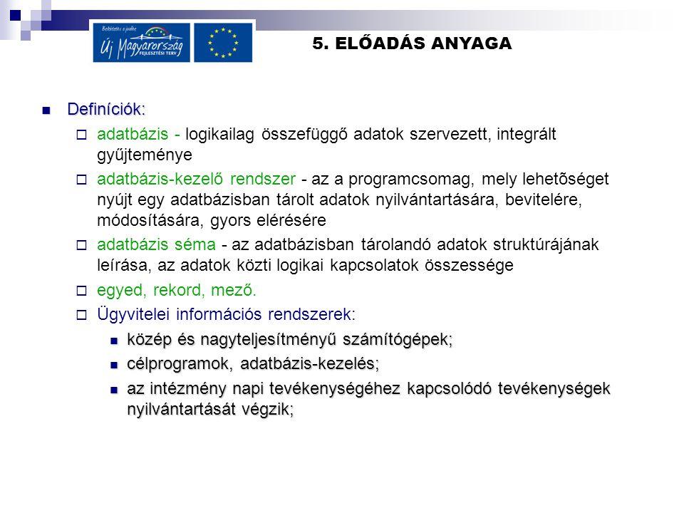 5. ELŐADÁS ANYAGA Definíciók: Definíciók:  adatbázis - logikailag összefüggő adatok szervezett, integrált gyűjteménye  adatbázis-kezelő rendszer - a