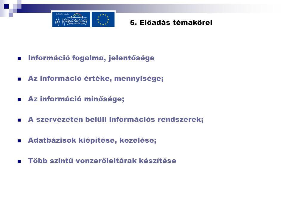 5. Előadás témakörei Információ fogalma, jelentősége Az információ értéke, mennyisége; Az információ minősége; A szervezeten belüli információs rendsz