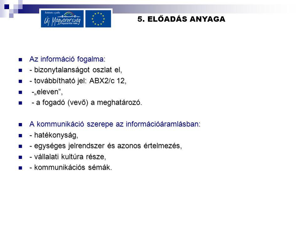 5. ELŐADÁS ANYAGA Az információ fogalma: Az információ fogalma: - bizonytalanságot oszlat el, - bizonytalanságot oszlat el, - továbbítható jel: ABX2/c