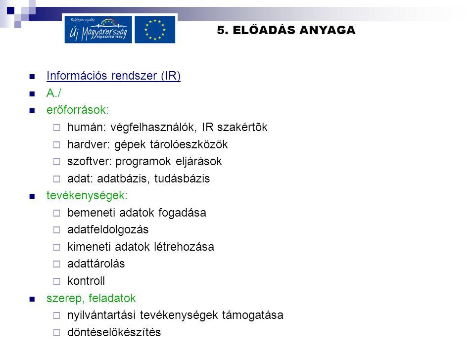 5. ELŐADÁS ANYAGA Információs rendszer (IR) A./ erőforrások:  humán: végfelhasználók, IR szakértõk  hardver: gépek tárolóeszközök  szoftver: progra