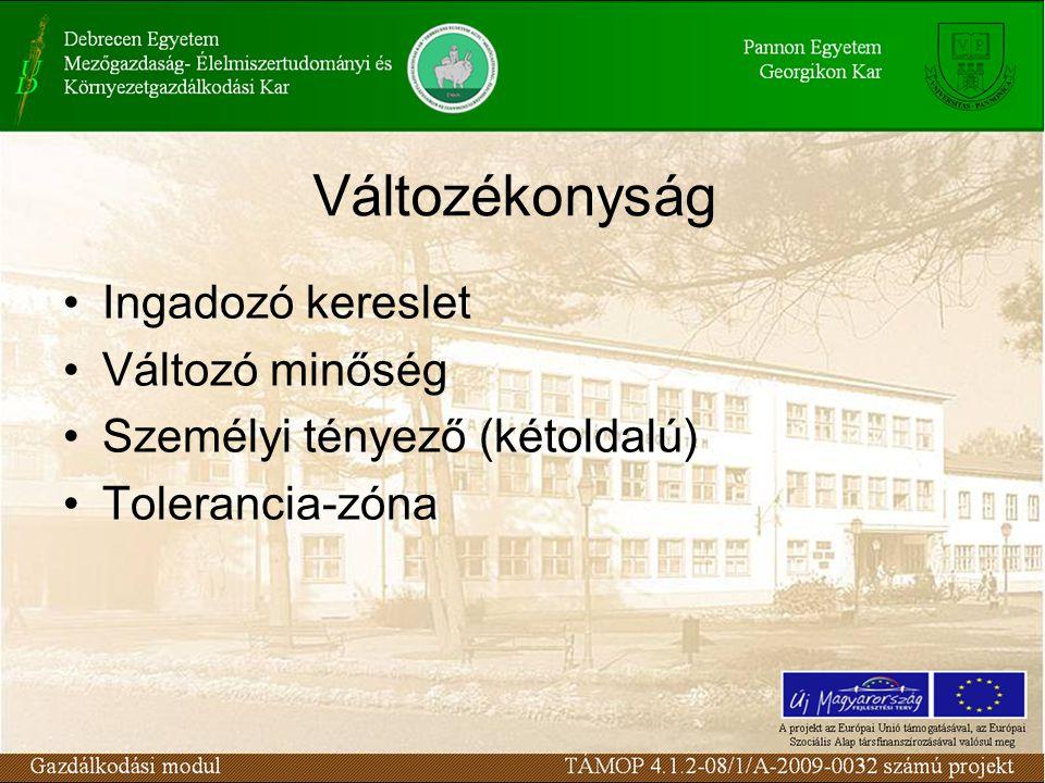 Változékonyság Ingadozó kereslet Változó minőség Személyi tényező (kétoldalú) Tolerancia-zóna