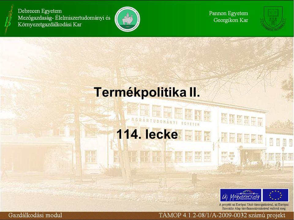 Termékpolitika II. 114. lecke
