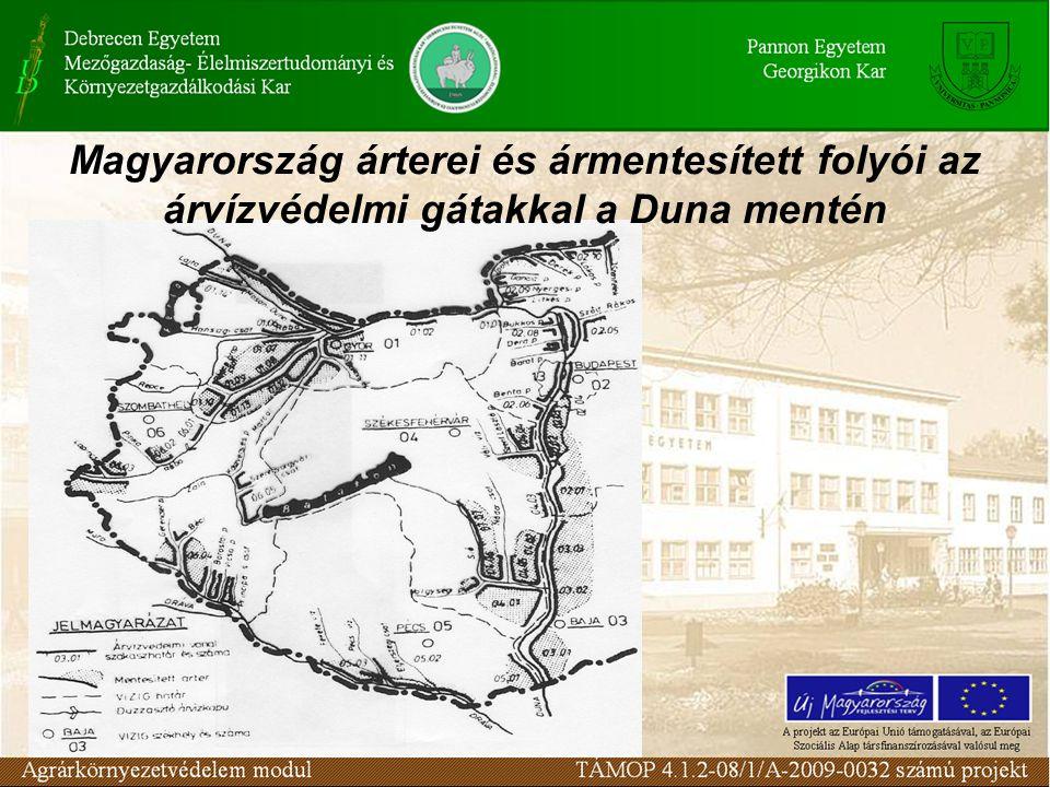 Magyarország árterei és ármentesített folyói az árvízvédelmi gátakkal a Duna mentén
