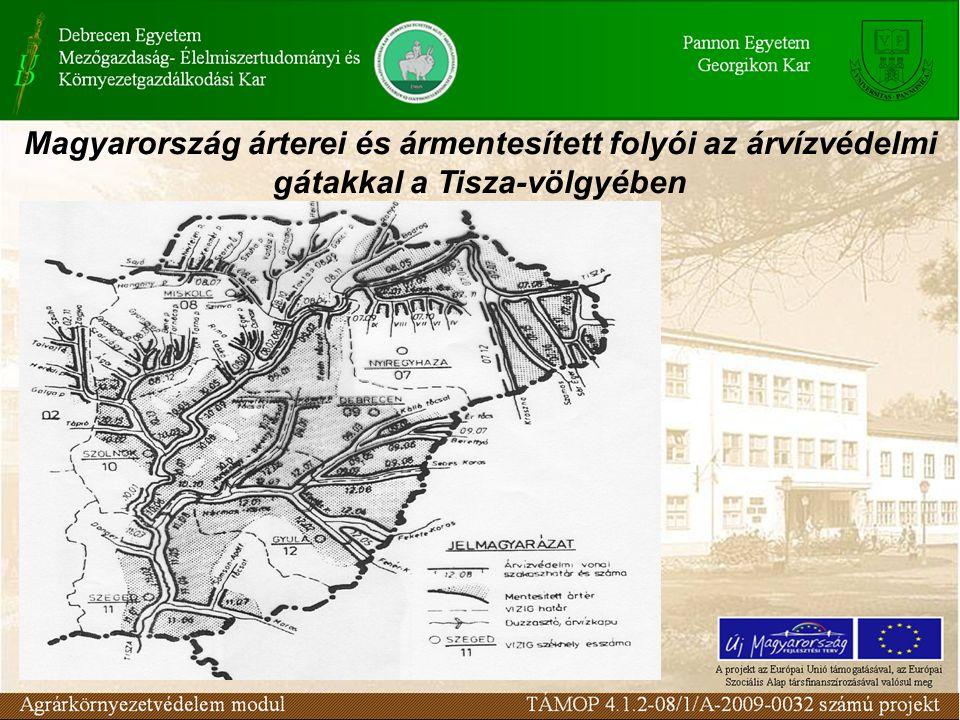 Magyarország árterei és ármentesített folyói az árvízvédelmi gátakkal a Tisza-völgyében