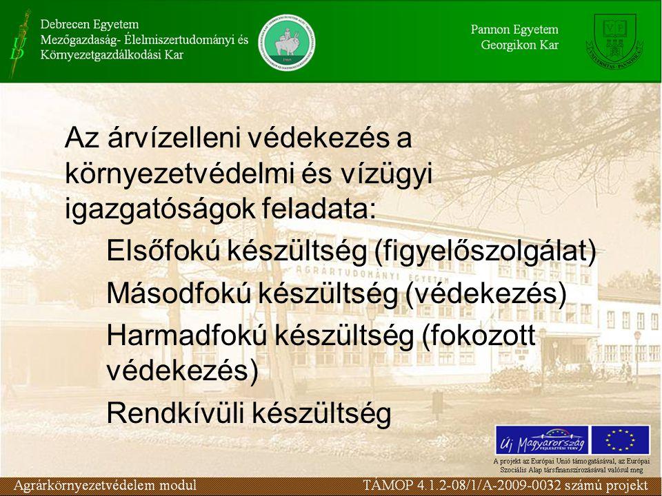 Az árvízelleni védekezés a környezetvédelmi és vízügyi igazgatóságok feladata: Elsőfokú készültség (figyelőszolgálat) Másodfokú készültség (védekezés) Harmadfokú készültség (fokozott védekezés) Rendkívüli készültség