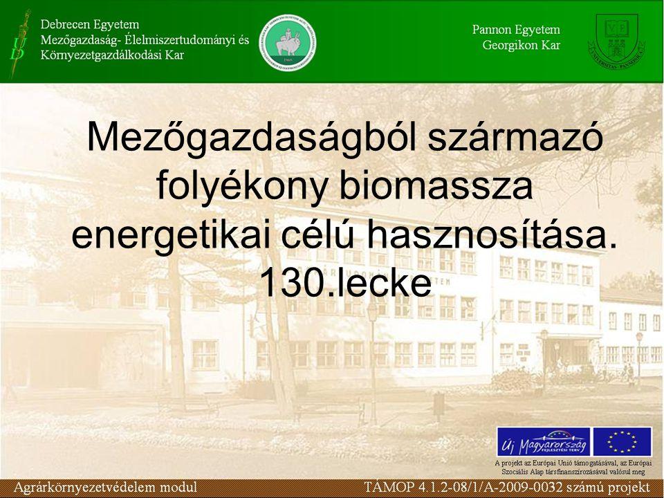 Folyékony Biomassza A növényi eredetű biomasszából előállított folyékony energiahordozók alkoholok, zsírok és olajok lehetnek, melyeket az alábbi módokon lehet hasznosítani: –a.) motorhajtóanyagként, –b.) hidraulika- és fékfolyadékként, –c.) kenőolajként, –d.) tüzelési célokra, –e.) vegyipari és élelmiszer-ipari alapanyagként.