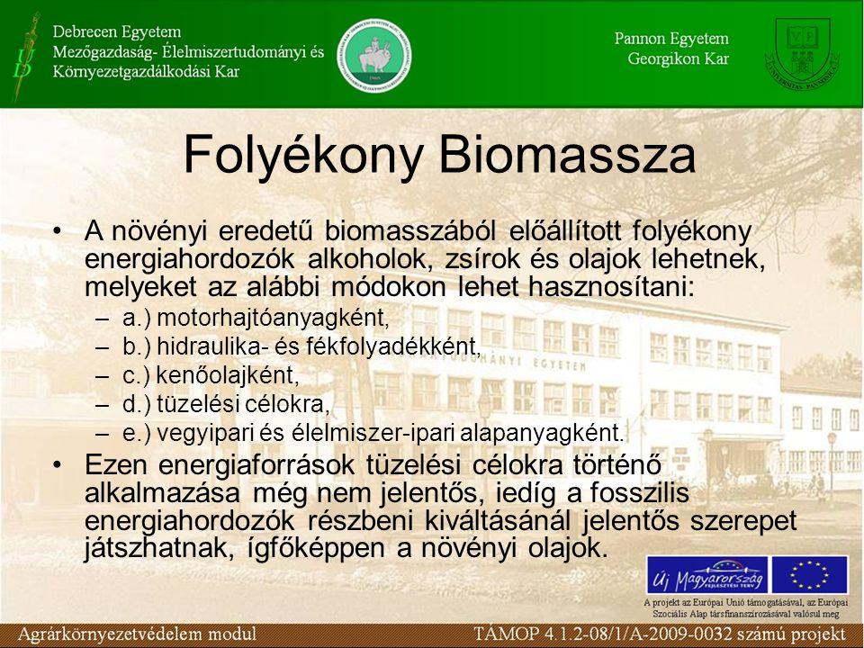 Folyékony Biomassza Motorhajtóanyagként az alkoholok és a növényi olajok felhasználhatók: a.) nyers formában, b.) vegyi átalakítás után, c.) hagyományos hajtóanyagokhoz keverve, d.) adagolva.