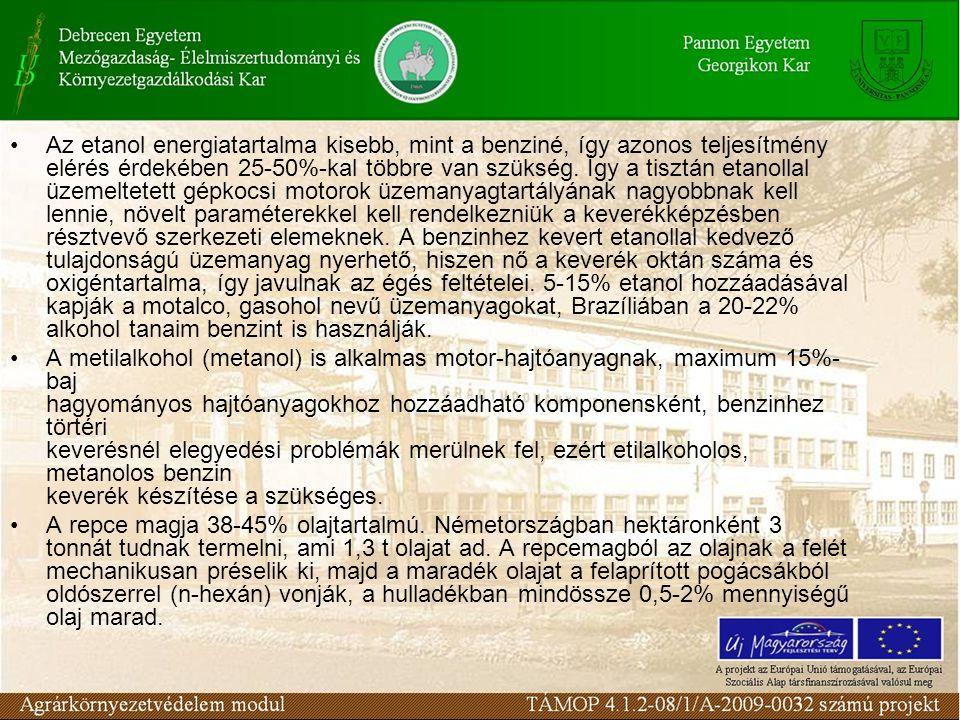 Folyékony Biomassza A növényi olajok hasznosításának hátrányai: –a.) nagyobb lobbanáspont (nehezebb gyújtás) –b.) nagy viszkozitás –c.) kokszosodási hajlam A repceolaj-metilészter, valamint a napra forgó- metilészrer előállításakor számottevő melléktermékként glicerin keletkezik.
