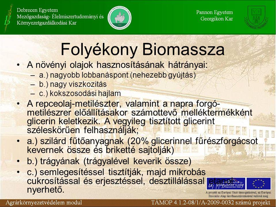 A biogáztermelés mint a megoldás kulcsa –Biogáz-előállítás Kezeli a szennyvíz problémát Hidraulikusan működtethető a rendszer A termelődő gáz és a hulladékhő ellátja a bioetanol energiaigényét A kikerülő fermentált anyag nemcsak tápanyagvisszapótlásra alkalmas, hanem öntözővízként is funkcionál Gondok: –a fermentált anyagot tárolni kell –az alapanyagot termelő területeknek az üzem környezetében kell lenniük
