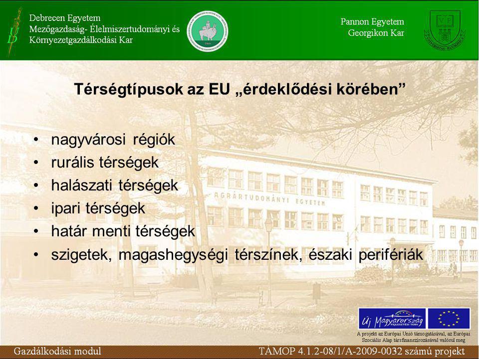 """Térségtípusok az EU """"érdeklődési körében nagyvárosi régiók rurális térségek halászati térségek ipari térségek határ menti térségek szigetek, magashegységi térszínek, északi perifériák"""