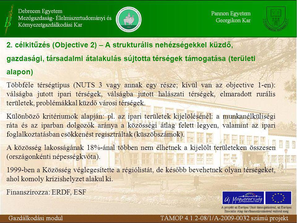 2. célkitűzés (Objective 2) – A strukturális nehézségekkel küzdő, gazdasági, társadalmi átalakulás sújtotta térségek támogatása (területi alapon) Több