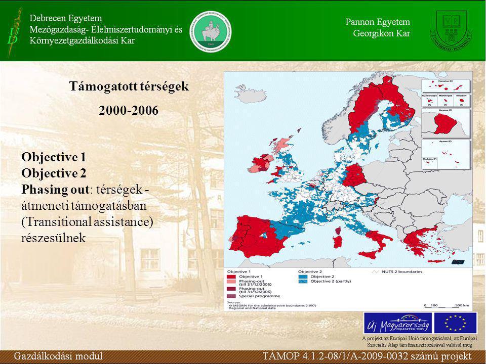 Támogatott térségek 2000-2006 Objective 1 Objective 2 Phasing out: térségek - átmeneti támogatásban (Transitional assistance) részesülnek