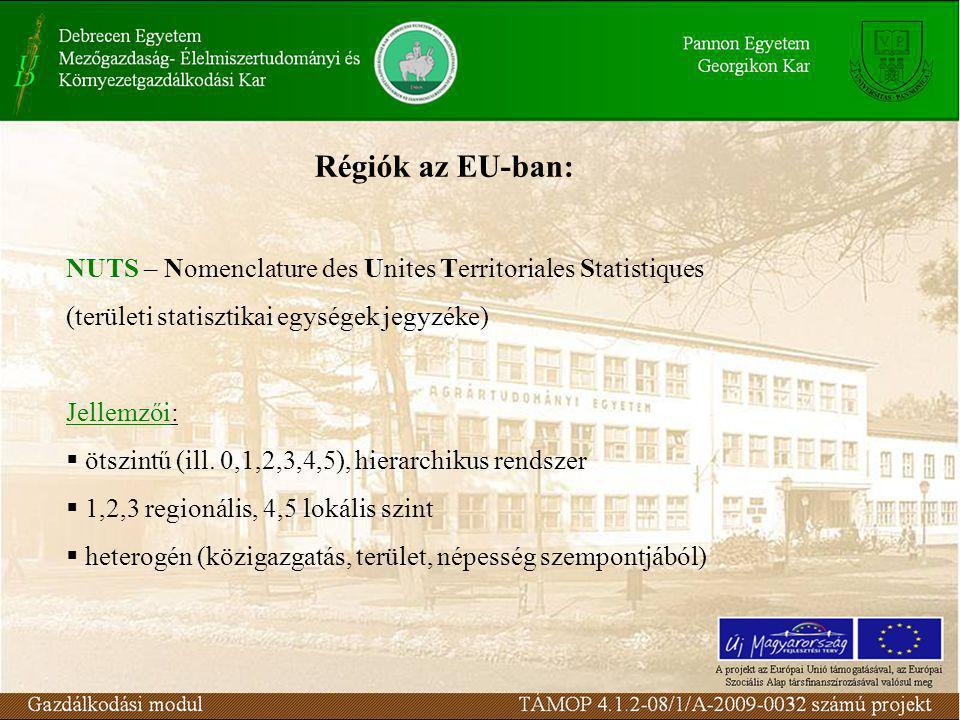 NUTS – Nomenclature des Unites Territoriales Statistiques (területi statisztikai egységek jegyzéke) Jellemzői:  ötszintű (ill.