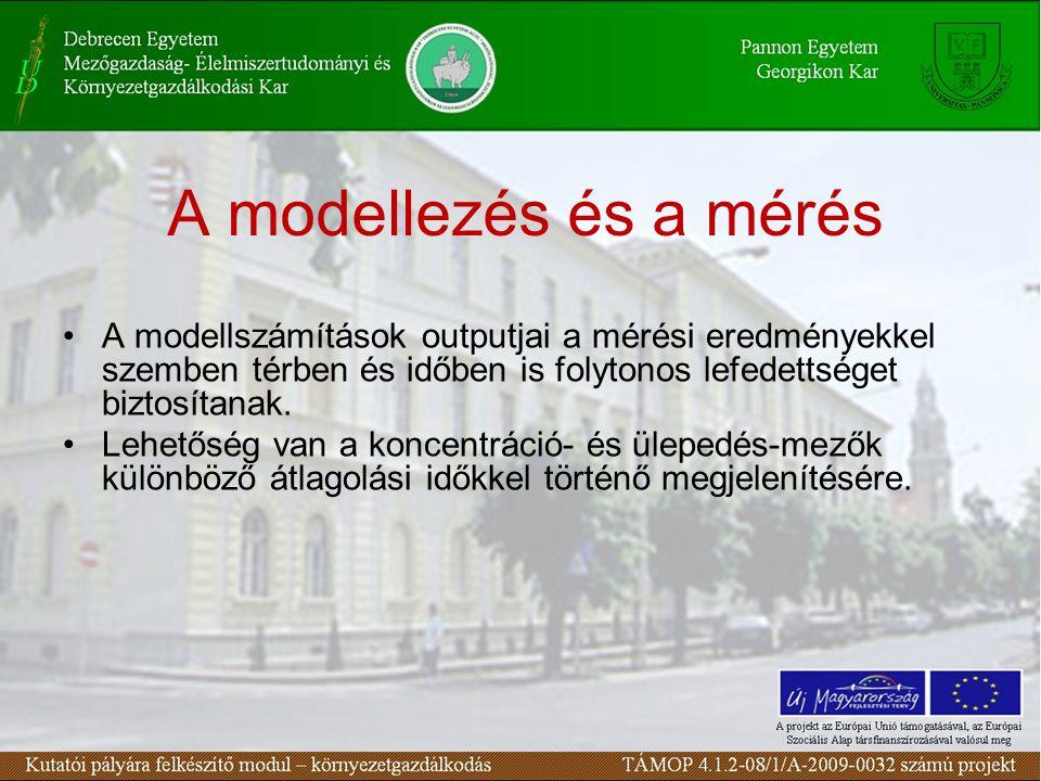 A modellezés és a mérés A modellszámítások outputjai a mérési eredményekkel szemben térben és időben is folytonos lefedettséget biztosítanak.